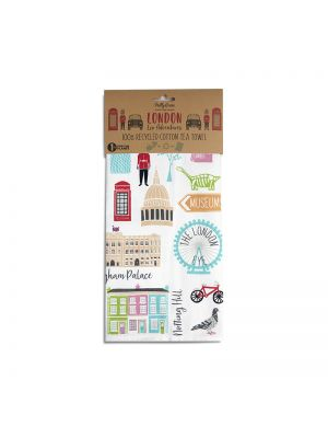 LONDON ADVENTURES TEA TOWEL - 100% RECYCLED COTTON