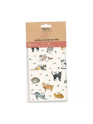 Curious Cats Tea Towels Set of 2 - 100% Recycled Cotton